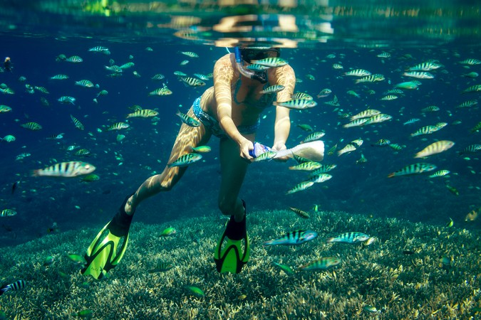 Young Women Snorkeling in the Isla Mujeres